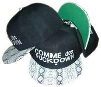 Cheap 2013 new black adjustable black comme des fuck down baseball snapback hats and caps for men snakeskin brim sports hip pop cap