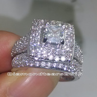 Wholesale 138 stones Size luxury kt white gold Filled Full white topaz Gem Wedding Ring Set for love gift