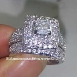 Fashion Jewelry 134pcs stones Size 6-10 luxury 14kt white gold Filled Full white topaz CZ Diamond Wedding Women Ring Set for lover gift