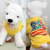 Cheap Cute Yellow Pet Small Dog Clothes T-Shirt Footprint Pattern Vest Tops Tee Shirts Free&DropShipping