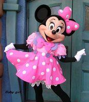 al por mayor la mascota del ratón de color rosa-2017 Traje de la mascota del ratón de Minnie del rosa del traje de la mascota de Minnie de la boda que envía libremente