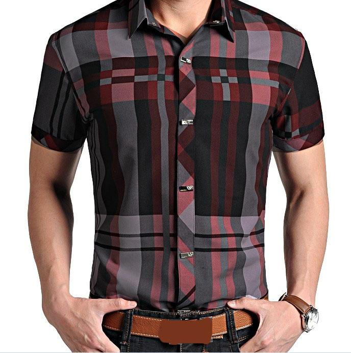 M-XXXL 2014 Summer Men Short Sleeve Lapel Plaid Shirts Men's ...