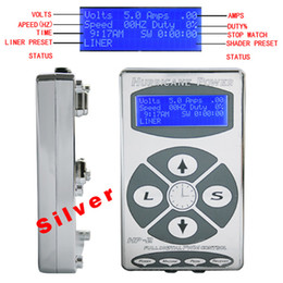 Wholesale Tattoo Power Supply Hurricane Digital LCD Display Silver Color For Tattoo Gun Needle Ink Cups Grips Kits