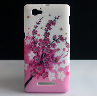 bee gel - Cute Bee Pink Plum Flower Design SOFT RUBBER GEL PROTECTIVE SKIN COVER CASE FOR SONY XPERIA M C1904 C1905 New Hotsale