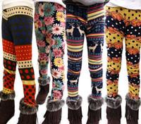 Wholesale New Winter Girls Pants Legging Flower Bear Deer Dots Reindeer Leggings Velvet Thickening Leggings Warm Tights Girl Children Cloth A404