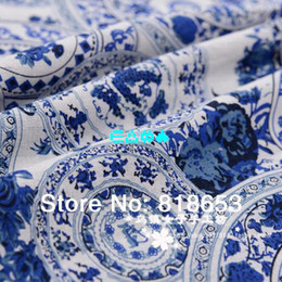 Wholesale Chinese style blue and white koi linen cloth clothing cotton calico dress fabric interior fabric DIY fabric Linen fabric