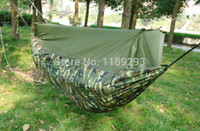 Wholesale OP Garden Hamaca Double Parachute Camping Hammock Sleeping Military Outdoor Indoor Adult Hammock Swing Mesh Mosquito with Frame Ba