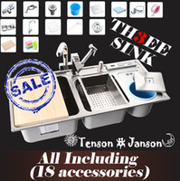 Wholesale EMS Triple bowl Stainless steel kitchen sinks pia kichen sink with Pull Out Sink Mixer Tap accessories