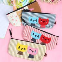 Cheap 4 PCs Set Cat Pattern Pencil Case Makeup Bag Coin Cellphone Storage Cosmetic Cavans Pouch