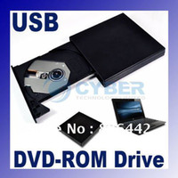 Wholesale Black USB External Ultra Slim Portable Optical CD DVD ROM Drive For Laptop PC