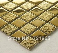 Wholesale Golden metal glazed ceramic wall tile kitchen backsplash tiles CCMT016 bathroom tile porcelain mosaic tile glass mosaic