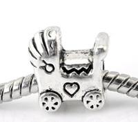 """Cheap 30PCs Silver Tone Baby Carriage European Charm Beads 11x12mm(3 8""""x4 8"""")"""