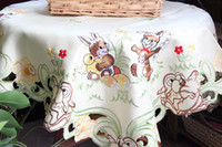Wholesale Light yellow Embroidered Easter Bunny Table Cloth tablecloth x85cm