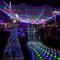 decorative mesh - Colorful LED String Light Net Mesh Decorative Fairy Lights Twinkle Lighting for Christmas Wedding Party V EU TK1117
