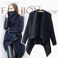 Wholesale 2014 New Style Women Fashion Coat Long Zipper Lapel Neck Wool Coats Pockets Irregular Collar Winter Casual Coats Plus Size Blue Outwear