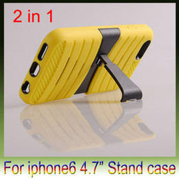 Wholesale 2 in PC silicon Earthquake Hard Back stand cover case Protector Bracket cases cover For iPhone plus inch