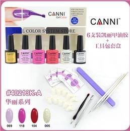 Wholesale 6 CANNI Gel Polish Shellac Soak Off UV LED Gel Base Top Coat Tips Deco Set A Gorgeous Series Pusher Nail Files Pen Wraps Tools