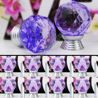 Cheap Holiday Sale 8 Pcs Set Glass Crystal Cabinet Drawer Knob Kitchen Pull Door Handle Wardrobe Hardware 30mm Purple #6 TK0737