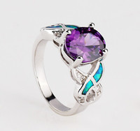 Wholesale Fashion silver blue gemstone high grade purple Austria crystal ring R70