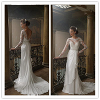 Cheap 2015 Sexy Lace Beach Wear Empire Waist Wedding Dresses Stretch Stain Floor Length Sash Sequined Bateau Open Back Long Sleeves Bridal Gowns