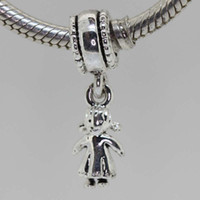 Crystal Animals Silver 925 sterling silver baby girl shaped Pandora beads European charm charming snake chain pendants jewelry