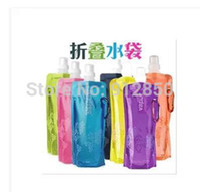 Cheap Wholesale-OP-Outdoor Tour Portable folding sports water bottle foldable water bottle 480ml(16oz)Water Bag Water Bladder 6 colors 20pcs lot