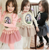 Wholesale 2014 New Dress Kids Girl s Long Sleeve Dress Cute Girl Printing Princess Dress Kids Clothing Girl Gauze TuTu Dress T0306