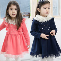 Wholesale Girls One Piece Dress Solid Lace Collar Dress Lace Skirt Dress Top Quality LQ23