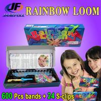 Cheap Halloween Toys Rainbow Loom Bands Kits DIY Bracelets with more than 600 bands + 24Sclip + Large hook + loom FedEx Free Educational Toys