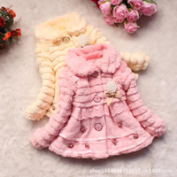 Wholesale 2014 new Girls faux fox fur collar coat clothing with Pearl bow Autumn Winter wear Clothes baby Children outerwear dress jacket Colors