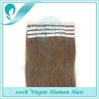 Cheap 40Pieces 100g PU Skin Weft Tape In 14-26inch 100% Brazilian Straight Real Human Hair Extensions Weft More Color #P8 613 #P16 613 #P27 613