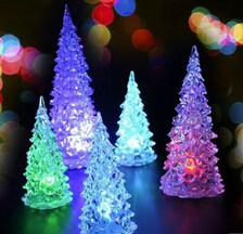 Wholesale Happy Christmas Xmas Tree Acrylic LED Crystal Ramp Shader Night Light Tree Gifts For Kids Christmas with Retail Box