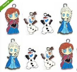 Wholesale DHL X Cartoon Frozen Elsa Anna Olaf Metal Charms Jewelry Make pendants Gifts