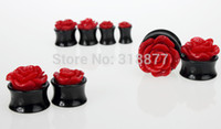 Wholesale OP Sizes Red New Tunnels And Plug Acrylic Rose Design Ear Plugs Body Jewelry