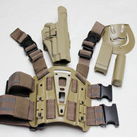 airsoft sig - OP For Sig Tactical Airsoft Drop Leg Right handed holster Set W Panel Mag Flashlight Pouch Belt Loop paddle Sand