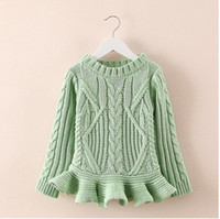 big knit sweater - 2014 Children New Arrival Fashion Spring Sweaters Big Girls Spring Sweet Irregular Form knitting Sweaters