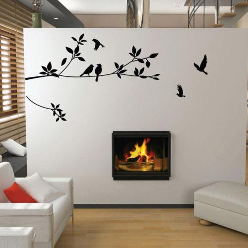 Birds Flying Black Tree Branches Wall Sticker Vinyl Art Decal Mural Home  Decor