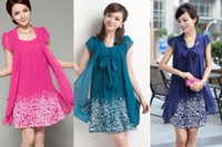 Wholesale Details about Plus Size Bright Color Celebrity Casual fake two short Top Maxi Dress