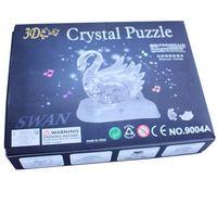 Wholesale 3D DIY Music Crystal Swan Decoration romantic gift Jigsaw Flashing LED light