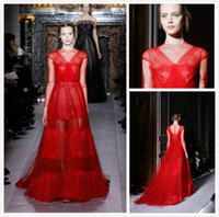 Reference Images Crew Lace 2014 Valentino Runway Crew Neck Pleats Floor Length Bright Red Sheer Long Sleeves Prom Gown Tulle See Through Lace Sexy Evening Dresses