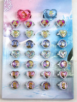 Cheap FREE shipping Wholesale Lots 120 pc 4 boxes Cartoon Frozen Princess Children Plastic Rings, kid ring - Brand New