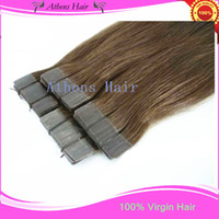 Wholesale New Invisible skin tape hair extensions brazilian human remy hair Mudiem Dark Brown100g pieces pack