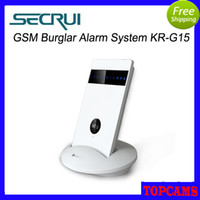 Wholesale Secrui KR G15 LED light quad band GSM Burglar Alarm System Built in db siren GSM SOS Buttons Home Security alarm System