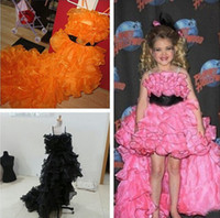wood flower - 2014 Hot Strapless Ice Organza Sash Beaded Flowers Formal Dresses Girl s Pageant Gowns Eden Wood Beautiful Dress for Your lovely Kid