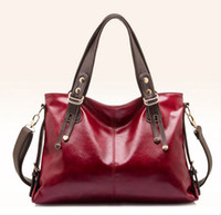 ladies designer handbags - Surprised You will get one free Designer Fashion Genuine Leather Women Shoulder bag Handbag Ladies Purse tote Bags Black Burgundy Blue