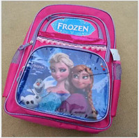 Wholesale Large size by fedex or dh Cartoon baby girls Frozen bag zipper shoulder School bag kids backpacks children s bookbags student bag