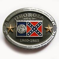 Wholesale Confederate Georgia State Flag Belt Buckle