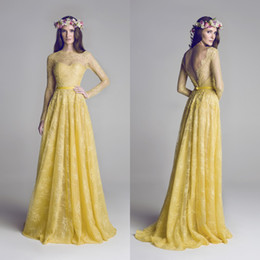 Formal Prom Dresses Long A Line Sheer Crew Neck Beaded Illusion Gold Yellow Lace Backless Evening Dresses With Long Sleeves DL1212160