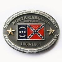 north carolina - Confederate North Carolina Rebel Flag Belt Buckle
