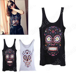 Wholesale New Women Lovely Cute Fashion Joker Cartoon Skull Design Sleeveless T shirt Render Vest
